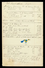JUNIATA COUNTY, PENNSYLVANIA GERMAN WATERCOLOR OF A SMALL BLUE AND YELLOW BIRD, CA 1880