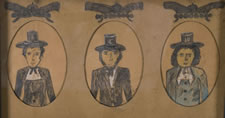 TRIPLE MOURNING PORTRAIT OF FIREMEN WITH GREAT FOLK ATTRIBUTES, CA 1870
