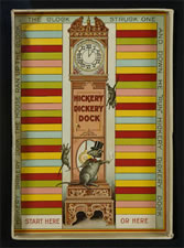 HICKORY DICKERY DOCK: EARLY PARKER BROTHERS BOARD GAME WITH GREAT CAT & MOUSE AND TALL CASE CLOCK GRAPHICS, 1900: