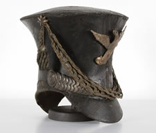 "AMERICAN MILITARY BELL CROWN SHAKO OR ""TAR BUCKET"" CAP, 1821-1830, FOUND IN A HOUSE IN CHAMBERSBURG, PENNSYLVANIA"