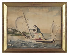 CUPID DIRECTS YOUNG LOVERS TOWARD ETERNITY, AN AMERICAN FOLK WATERCOLOR ON 1817 WATERMARKED PAPER