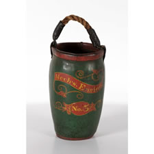 PAINTED FIRE BUCKET WITH BOLD COLORS, PROBABLY MECHANICSBURG, PENNSYLVANIA, ca 1810-30