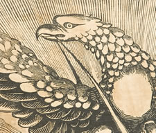 MID-19TH CENTURY FRATERNAL BANNER WITH EAGLE PERCHED ON GLOBE AND GREAT VERBIAGE
