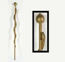 ODD FELLOWS SNAKE STAFF WITH APPLE FINIAL, CA 1870-80
