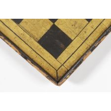 PAINT-DECORATED GAME BOARD IN CHROME YELLOW AND BLACK, AMERICAN, CA 1840-80