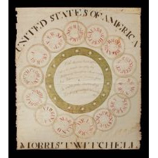 REMARKABLE PATRIOTIC SCHOOLCHILD WATERCOLOR BY MORRIS TWITCHELL, ILLUSTRATING THE ORIGINAL 13 COLONIES PLUS VERMONT AS CONJOINED RINGS, 1791-1792