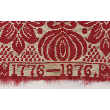 RED & WHITE COVERLET, MADE FOR THE 1876 CENTENNIAL EXPOSITION IN PHILADELPHIA, FEATURING MEMORIAL HALL ART MUSEUM