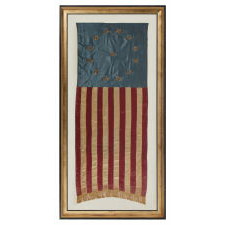 "PATRIOTIC VERTICAL BANNER WITH 13 METALLIC BULLION STARS IN THE ""3RD MARYLAND"" PATTERN, MADE OF SATIN SILK, PROBABLY FOR THE 1876 CENTENNIAL OF AMERICAN INDEPENDENCE"