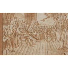 "RARE, LARGE SCALE KERCHIEF WITH IMAGE OF JOHN TRUMBULL'S ""DECLARATION OF INDEPENDENCE,"" MADE FOR THE 1826 SEMICENTENNIAL"