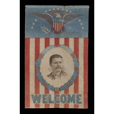 STRIKING AND VERY RARE PRESIDENTIAL CAMPAIGN BANNER WITH A PORTRAIT OF THEODORE ROOSEVELT AND A LARGE EAGLE, 1912