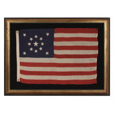 13 STARS IN A MEDALLION CONFIGURATION ON A SMALL-SCALE ANTIQUE AMERICAN FLAG OF THE 1895-1920's ERA