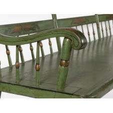 MID-19TH CENTURY, PLANK SEAT, PAINT-DECORATED SETTEE IN APPLE GREEN WITH BELL FLOWERS, GRAPES & FLORA, 1845-1865
