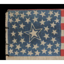 42 STARS IN A MEDALLION CONFIGURATION WITH A LARGE, HALOED CENTER STAR AND A TRIO OF 3 STARS IN EACH CORNER, EXCEPTIONALLY RARE, 1889-1890, WASHINGTON STATEHOOD