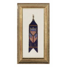 NATIVE AMERICAN BEADED WATCH FOB WITH A FEDERAL SHIELD AND CROSSED AMERICAN FLAGS, 1890-1910
