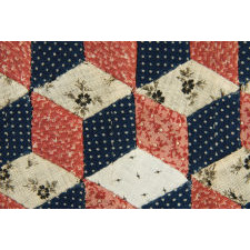 MASTERPIECE QULAITY TUMBLING BLOCKS PATTERN DOLL QUILT, PENNSYLVANIA, CA 1860's-70's