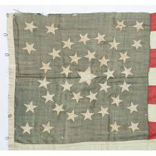38 STARS IN A MEDALLION CONFIGURATION WITH A RARE GROUPING OF 3 STARS IN EACH CORNER, 1876-1889, COLORADO STATEHOOD