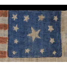 13 STARS, CIVIL WAR PERIOD, 1861-65, WITH WONDERFULLY CRUDE BLOCK PRINTING AND A RARE VARIATION OF A WREATH DESIGN THAT HAS MORE OF AN OCTAGON PROFILE THAN CIRCULAR