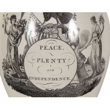 "LIVERPOOL JUG WITH ""PEACE, PLENTY, AND INDEPENDENCE"" VIEW ON ONE SIDE AND ""AMERICA IN TEARS"" GEORGE WASHINGTON MEMORIAL ON THE OTHER, LARGE AND IN PERFECT CONDITION, HERCULANEUM POTTERY, 1800-1805"