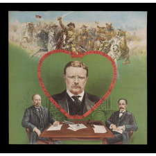 BOLDLY GRAPHIC AND COLORFUL TEDDY ROOSEVELT TEXTILE, MADE TO CELEBRATE HIS RECEIPT OF THE NOBEL PRIZE FOR PEACE IN 1906