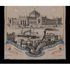 LARGE SCALE SOUVENIR STEVENSGRAPH, MADE FOR THE 1876 CENTENNIAL INTERNATIONAL EXPOSITION IN PHILADELPHIA, TO CELEBRATE 100 YEARS OF AMERICAN INDEPENDENCE: