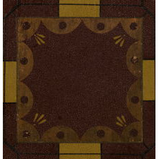 19TH CENTURY AMERICAN PARCHEESI BOARD IN SIX COLORS, WITH BOLD YELLOW FLOWERS IN EACH CORNER AND FANTASTIC, CRYSTALLIZED SURFACE, CA 1870-90