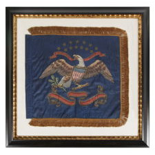 CIVIL WAR PERIOD FEDERAL STANDARD WITH 13 STARS, CAVALRY SIZE, HAND-PAINTED AND GILDED ON SILK, 1861-1865