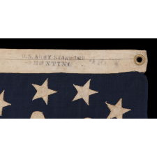 "ANTIQUE AMERICAN PRIVATE YACHT FLAG (ENSIGN) WITH 13 STARS, MARKED ""U.S. ARMY STANDARD BUNTING"", 1895-1910 ERA"
