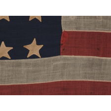35 SINGLE-APPLIQUÉD STARS ON AN ENTIRELY HAND-SEWN, CIVIL WAR PERIOD FLAG, 1863-65, WEST VIRGINIA STATEHOOD
