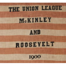 LARGE SCALE PARADE FLAG WITH 45 STARS, MADE FOR THE UNION LEAGUE OF PHILADELPHIA IN SUPPORT OF THE 1900 PRESIDENTIAL CAMPAIGN OF WILLIAM MCKINLEY & THEODORE ROOSEVELT