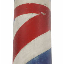 AMERICAN BARBER POLE, AN UNUSUALLY HEFTY EXAMPLE WITH GREAT POLYCHROME COLOR, CA 1880
