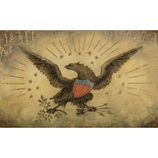 ÉGLOMISÉ CLOCK DOOR WITH AN EAGLE AND 15 STARS, FLANKED BY SHELL DESIGNS, CA 1825-1855