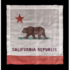 "EARLY KERCHEIF WITH IMAGE OF THE CALIFORNIA STATE ""BEAR"" FLAG, PROBABLY MADE FOR THE PANAMA-PACIFIC INTERNATIONAL EXPOSITION IN SAN FRANCISCO IN 1915"