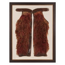 FANTASTIC, RED, WOOLY, ANGORA CHAPS WITH BEAUTIFULLY TOOLED LEATHER, MADE BY VISALIA STOCK SADDLE CO. OF SAN FRANCISCO, CALIFORNIA, SIGNED IN 3 PLACES, ca 1880-1910
