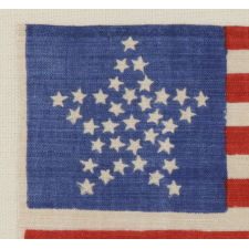 """34 STARS IN A """"GREAT STAR"""" PATTERN ON A BRILLIANT, ROYAL BLUE CANTON, OPENING TWO YEARS OF THE CIVIL WAR, 1861-63, KANSAS STATEHOOD"""
