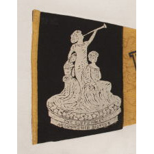 "RARE ""VOTES FOR WOMEN"" PENNANT WITH AN IMAGE OF A 1911 STATUETTE CALLED ""SUFFRAGIST"" BY ELLA BUCHANNAN; PROBABLY OF NEW YORK ORIGIN, THIS EXACT TEXTILE IS THE PLATE EXAMPLE FROM THE LEADING REFERENCE ON SUFFRAGE-RELATED OBJECTS"