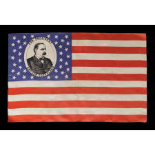 PORTRAIT STYLE PARADE FLAG FROM THE 1884 PRESIDENTIAL CAMPAIGN OF GROVER CLEVELAND, MADE BY CHENEY SILK, MANCHESTER, CT: