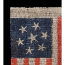 CONFEDERATE SYMPATHIZER PARADE FLAG WITH 7 GRAPHICALLY WHIMSICAL STARS THAT REFLECT THE INITIAL WAVE OF 7 STATES SECEDED FROM THE UNION, A WAR-PERIOD EXAMPLE, 1861