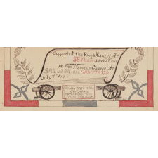 """ELABORATE PEN & INK SOLDIER'S RECORD WITH AMERICAN PATRIOTIC COLORS AND IMAGERY, MADE FOR VERNON E. CUMMINGS OF THE 2ND REGIMENT, COMPANY D, WHO SUPPORTED TEDDY ROOSEVELT'S ROUGH RIDER'S ON SAN JUAN HILL, 1898, SIGNED """"ODBEERE"""""""