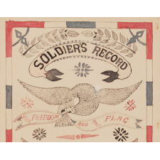 "ELABORATE PEN & INK SOLDIER'S RECORD WITH AMERICAN PATRIOTIC COLORS AND IMAGERY, MADE FOR VERNON E. CUMMINGS OF THE 2ND REGIMENT, COMPANY D, WHO SUPPORTED TEDDY ROOSEVELT'S ROUGH RIDER'S ON SAN JUAN HILL, 1898, SIGNED ""ODBEERE"""