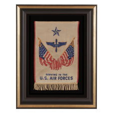 WWII SON-IN-SERVICE BANNER FOR A SERVICEMAN IN THE U.S. ARMY AIR FORCES, WHICH WOULD SOON AFTER BREAK OFF FROM THE ARMY TO BECOME ITS OWN BRANCH, LARGE IN SCALE AMONG SERVICE BANNER OF THIS ERA, GRAPHIC, AND EXTREMELY SCARCE