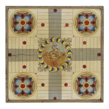 MASTERPIECE QUALITY AMERICAN GAMEBOARD WITH FANCIFULLY PAINTED CHERUBS, CA 1870