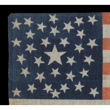 1860 CAMPAIGN PARADE FLAG WITH 33 STARS IN A PENTAGON MEDALLION AND AN INTRIGUING ABBREVIATION OF LINCOLN'S NAME, ATTRIBUTED TO H.C. HOWARD, PHILADELPHIA