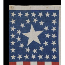 38 STARS IN A CIRCLE-IN-A-SQUARE MEDALLION WITH A HUGE CENTER STAR, ON AN ANTIQUE AMERICAN FLAG MADE FOR THE 1876 CENTENNIAL CELEBRATION, ONE OF JUST A TINY HANDFUL IN THIS STYLE AND AN ESPECIALLY IMPORTANT EXAMPLE, FORMERLY IN THE COLLECTION OF RICHARD PIERCE AND ILLUSTRATED IN HIS BOOK
