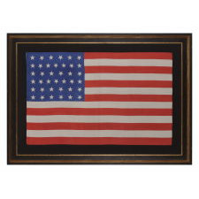 38 DANCING STARS ON A SILK ANTIQUE AMERICAN PARADE FLAG WITH GENEROUS SCALE AND VIVID COLORS, COLORADO STATEHOOD, 1876-1889