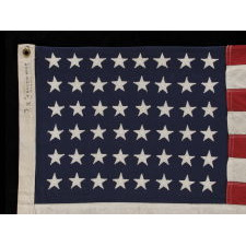 "48 STARS ON A SMALL-SCALE FLAG OF THE MID-19TH CENTURY, SIGNED ""STORM KING,"" CA 1920-1950's"