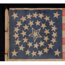 35 STARS IN A MEDALLION CONFIGURATION WITH A LARGE, HALOED CENTER STAR, CIVIL WAR PERIOD, WEST VIRGINIA STATEHOOD, 1863-65