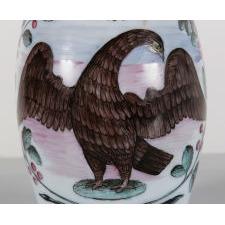 "BOHEMIAN MILK GLASS MUG WITH AN EAGLE, 13 STARS, AND THE CAPTION ""LIBERTY"", LATE 18TH CENTURY"