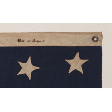 U.S. NAVY JACK WITH 30 STARS, AN ENTIRELY HAND-SEWN, PRE-CIVIL WAR EXAMPLE WITH MARKINGS FROM NEW YORK SHIPSMITH ISAAC HALL, WISCONSIN STATEHOOD, 1848-1850