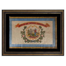 WEST VIRGINIA STATE PARADE FLAG, CA 1929 OR PERHAPS PRIOR, A RARE AND BEAUTIFUL EXAMPLE