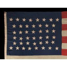 "44 BEAUTIFULLY HAND-SEWN STARS IN AN ""HOURGLASS"" PATTERN, WYOMING STATEHOOD, 1890-1896"